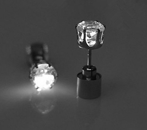 Price comparison product image Acmee Stylish LED Studs Earrings Shinning Crystal Pendant for Party Festival (White, 1 Pair)