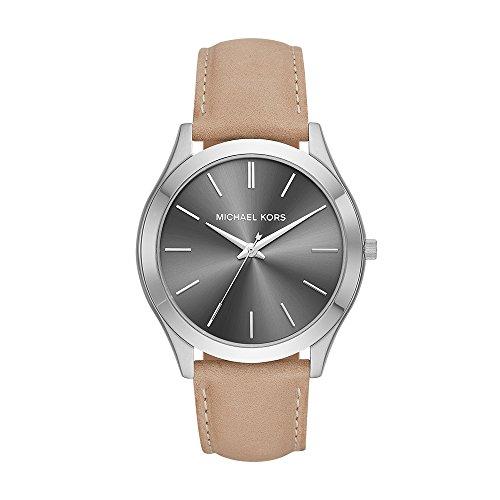 Michael Kors Men's Slim Runway Stainless Steel Quartz Leather Strap, Brown, 22 Casual Watch (Model: MK8619) (Michael Kors Watch Men Leather)
