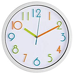 Bernhard Products Colorful Kids Wall Clock 10 Inch Silent Non Ticking Quality Quartz Battery Operated Wall Clocks, Easy to Read 3D Multi Colored Numbers Nursery Classroom Office Kitchen, White Frame