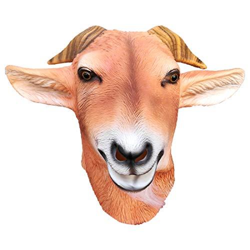 Aqkilo Goat mask latex animal head mask halloween party costume -