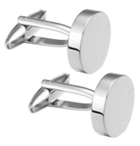Cufflinks Direct Simple Plain Round Polished Silver Colour Mens Gift Cuff Links By (Cufflinks With Gift Bag) (Cufflinks Plain Polished)