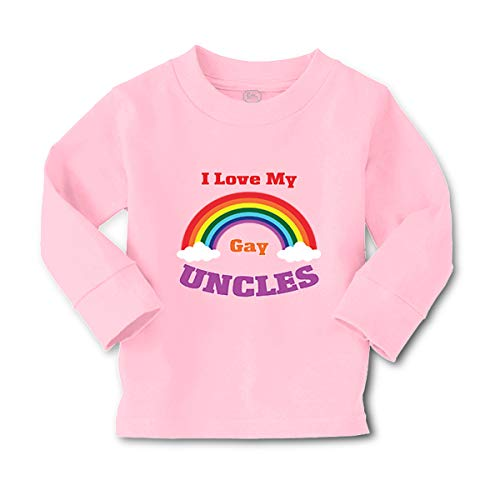 I Love My Gay Uncles Long Sleeve Crewneck Toddler Boys-Girls Cotton T-Shirt Tee - Soft Pink, 4T