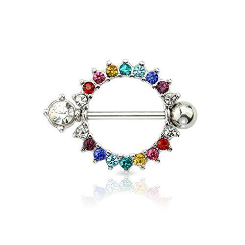 Dynamique 316L Surgical Steel Paved Rainbow Gem Round Nipple Shield (Sold Per Pair or Per Piece)