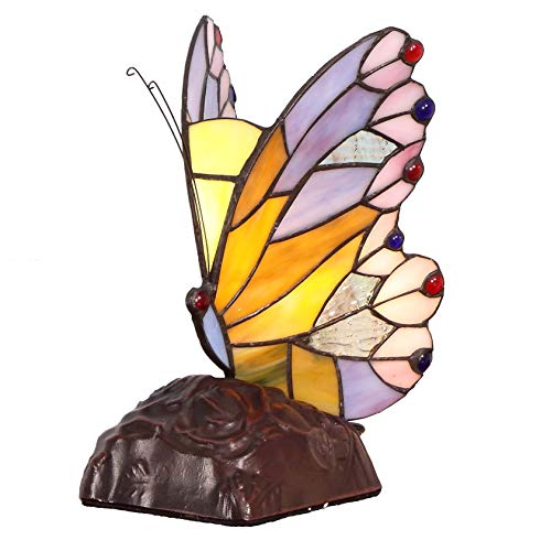 Bieye L11406 8 inch Butterfly Tiffany Style Stained Glass Accent Table Lamp ()