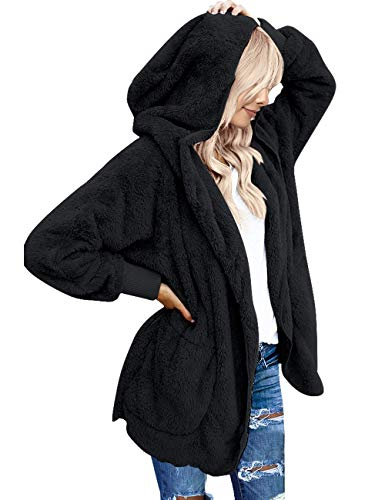 Vetinee Women's Casual Draped Open Front Hooded Cardigan Pockets Oversized Coat Black Size Large (fits US 12-US 14) - Fur Oversized Coat
