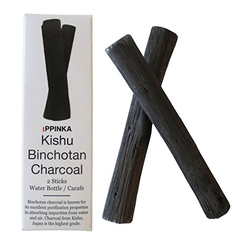 Sticks Charcoal (IPPINKA Portable Kishu Binchotan Charcoal Water Purifying Sticks, Set of 2 Sticks, Filters Personal-Sized Water Bottles)