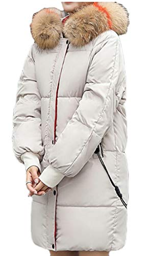 Long Winter 1 Thicken Parka Faux Women Outwear Fur Jacket Hood EKU wgaXRTqn