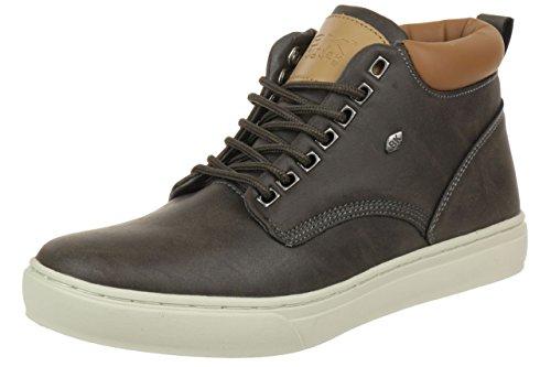 British Knights Wood, Men's Hi-Top Sneakers Dark Grey Cognac