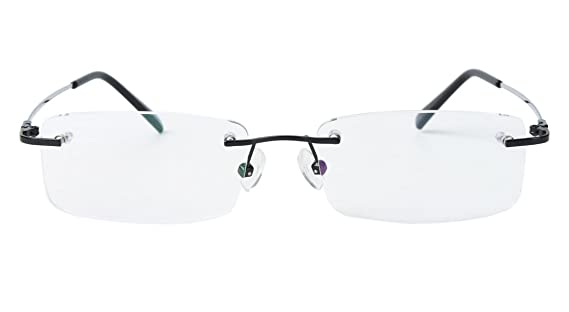 6a67d920c95 Amazon.com  Agstum Titanium Alloy Flexible Rimless Frame Prescription  Eyeglasses (Black)  Clothing