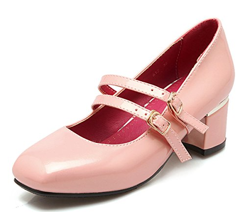 YE Damen Geschlossen Lack Chunky High Heels Mary Jane Pumps mit Blockabsatz und Riemchen Schuhe Rosa
