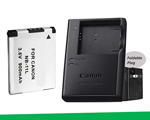 Excelshoots, Canon CB-2LF Battery Charger + NB-11L/NB-11Lh Battery Pack for Canon PowerShot ELPH 115, 130, 135, 180, 190, 340, 360 Digital Camera.