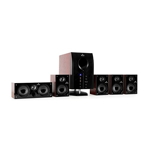 auna Areal Active 525 WD 5.1 Channel Surround Speaker System • Stereo Sound • 95 W • Remote Control • Active 5.25'' Bass Reflex Subwoofer • 5 Satellite Speakers • Bluetooth • Display • Brown-Black by auna