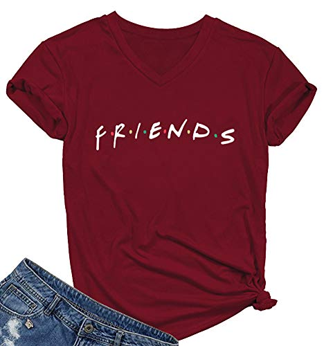 SELECTEES Women Friends V-neck T Shirts Graphic Teen Girls Cute Tops Wine Red Medium from SELECTEES