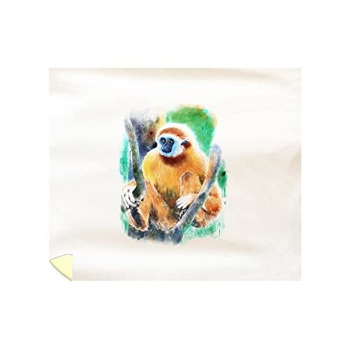 New Lantern Press White-Handed Gibbon Monkey - Watercolor (88x104 King Microfiber Duvet Cover)