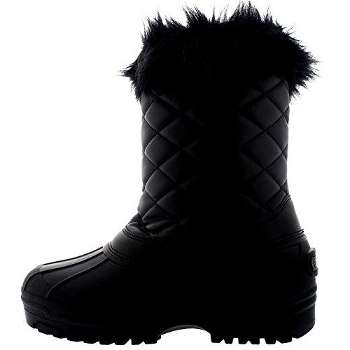 Polar Damen Toggle Ente Winter Thermal Gummi Laufsohle Schnee Wasserdicht Mitte Wade Stiefel Schwarz Leder