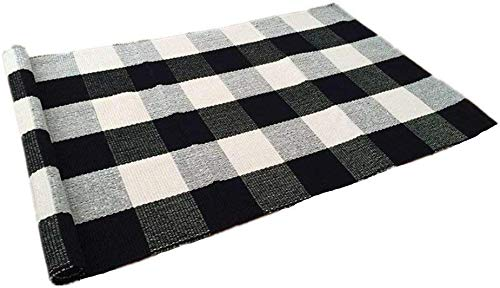Rug Black Rain (USTIDE 100% Cotton Buffalo Check Rugs Black&White Plaid Rug Hand-Woven Buffalo Checked Washable Porch Kitchen Rugs 24''x51'')