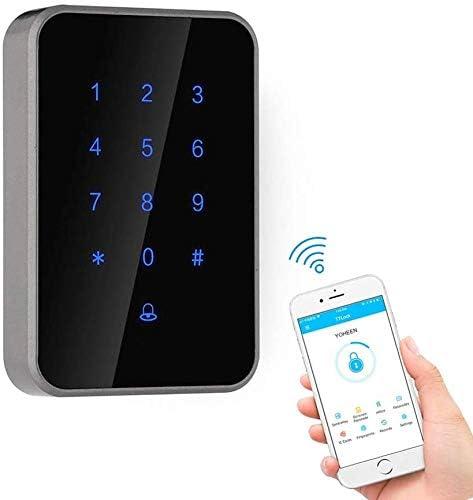 指紋南京錠、指紋南京錠、Bluetooth WiFiアプリカードリーダーデジタルキーパッド付き電子ドアアクセス制御、アパート/オフィス/家のアクセス制御用