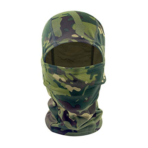 hikevalley Balaclava Face Mask Adjustable Windproof UV Protection Hood (camo 3)