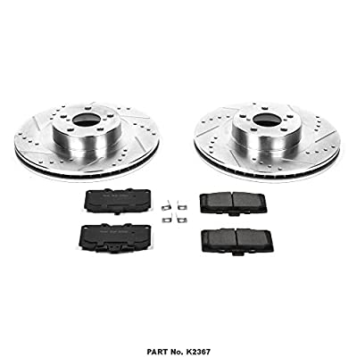 Power Stop K2367 Front Brake Kit with Drilled/Slotted Brake Rotors and Z23 Evolution Ceramic Brake Pads: Automotive