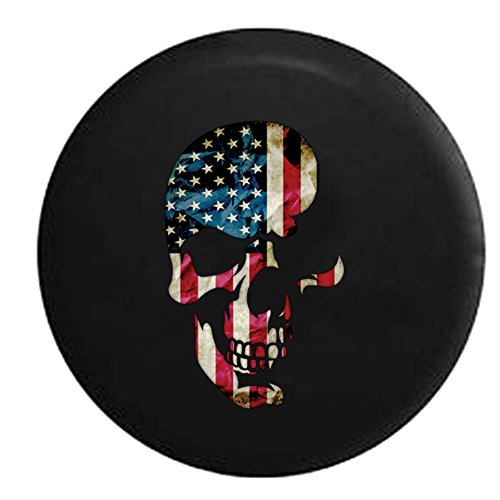 - American Flag on Shadowed Skull Spare Tire Cover Black 31 in