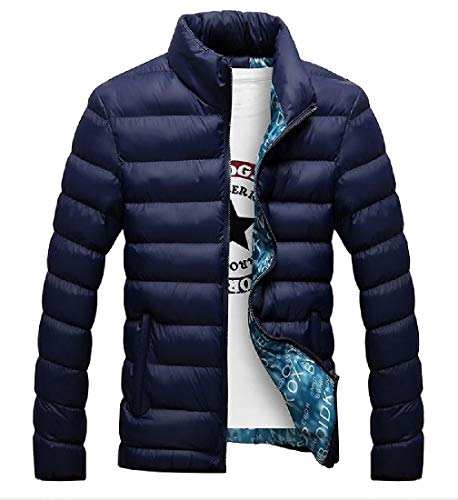 Warm Zip Jacket Thicken Slim Casual Lightweight Full Blue Dark Coat Fit MogogoMen qcw0tRnn8