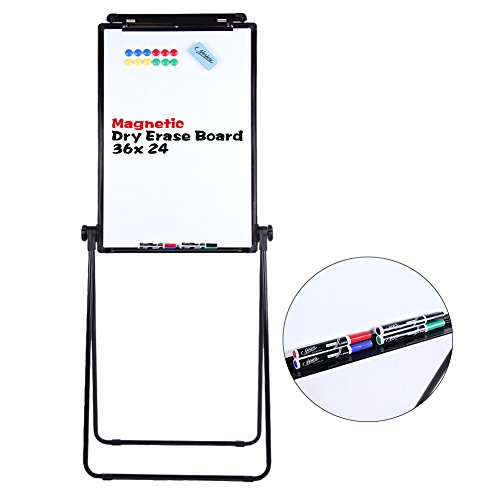 ECO Magnetic U-Stand Whiteboard / Flipchart Easel, Double Sided Easel White Board 24 x 36 Inches, Height Adjustable Rotating Dry Erase Board w/ 4 Markers, 1 Eraser & 12 Magnets by NOSIVA