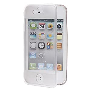 Clamshell Designed TPU Soft Full Body Case with Transparent Front Cover for iPhone 4/4S (Assorted Colors) --- COLOR:Blue