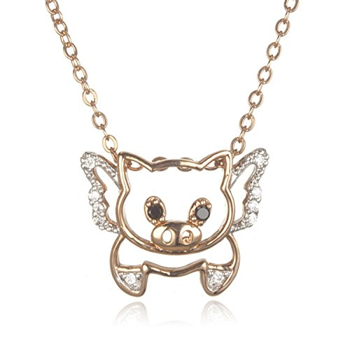 Rose Gold Plated Brass Prayer Piggy Pendant with Black and White Cz-18