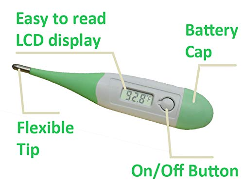 STOCK CLEARANCE!! ObboMed MM-3180 Digital Fever Alarm Basal Thermometer for Oral, Underarm & Rectal, 10 sec Reading, Flexible Waterproofed Tip, White&Green, 1pc (battery included)