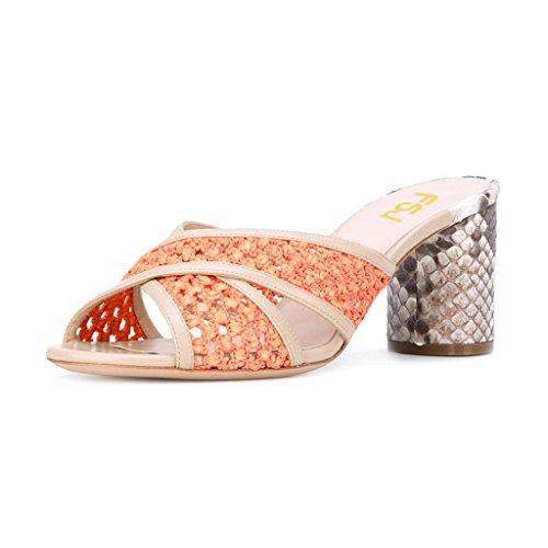 Fsj Donne Colorate Tagliate Peep Toe Muli Stampa Serpente Sandali Con Tacco Alto Sandali Scarpe Taglia 4-15 Arancione