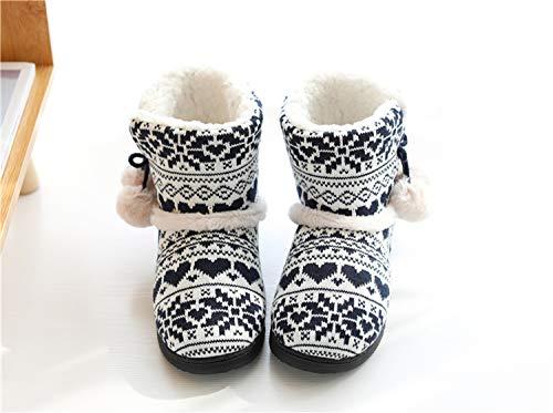 Home Caldo Tqgold Antiscivolo Per Casa Donne Morbido Pattini Uomini Peluche Pantofole Blu Inverno EEXCq1