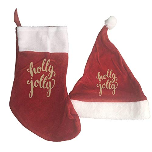 - Merry Christmas Holly Jolly Santa Hat & Christmas Stocking Holiday Christmas Decorations Party Accessory