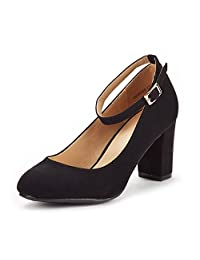 DREAM PAIRS Women's Demilee High Chunky Heel Pump Shoes