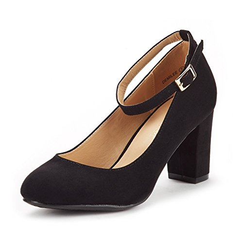 DREAM PAIRS Women's Demilee Black Suede High Chunky Heel Pump Shoes Size 8 B(M) US ()