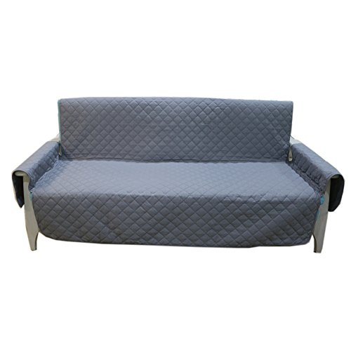 Quilted Reversible Sofa Slipcove for Pet Dog Kids Furniture Protector Couch Cover 70' X 114' Gray