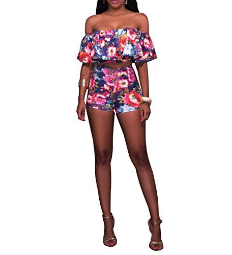 mpers Off Shoulder Sleevelss Crop Top Backless High Waist Ruffles Short Pants 2 Pieces Outfits Swimsuit Navy ()