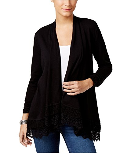 Style & Co . 3/4 Sleeve Cardigan - Style & Co Open-Front Crochet-Hem Cardigan