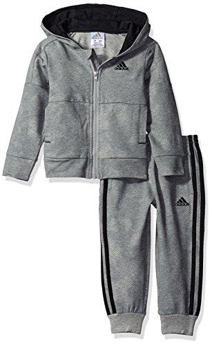 adidas Toddler Boys' Zip Hoodie and Pant Set, Grey, 2T