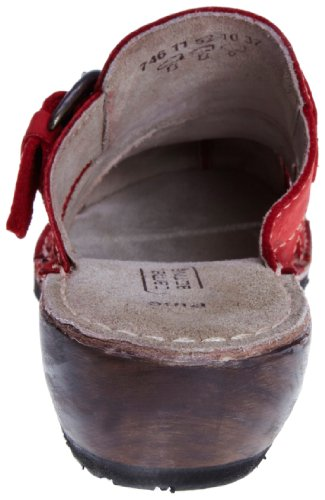 camel active Pine 11 746.11.01 - Zuecos de cuero nobuck para mujer Rojo (Rot/Red)