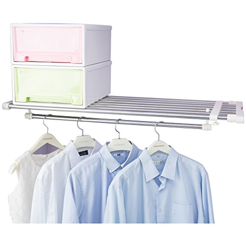 Hershii - Estante extensible telescópico para clóset con barra de tensión, resistente, para colgar ropa, organizador de...