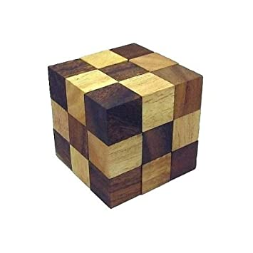 Small Snake Cube Brain Teaser Wooden Puzzle
