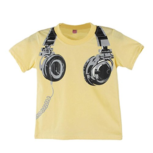 Baby Tops for 1-6 Years Old,Kids Toddler Boys Summer Casual Headphone Short Sleeve T Shirt Tees Blouses Clothes (Yellow, 3-4 Years Old) (Baby Gap Shirt Top)