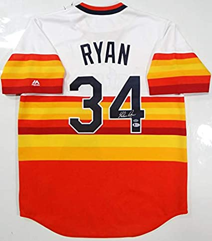 ad91c57b Nolan Ryan Autographed Houston Astros Rainbow Cooperstown Jersey- Beckett  Auth at Amazon's Sports Collectibles Store