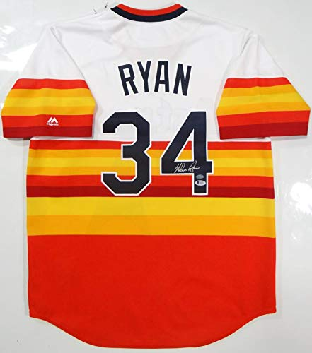 (Nolan Ryan Autographed Houston Astros Rainbow Cooperstown Jersey- Beckett)
