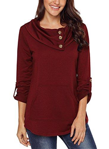 Asyoly Women Cowl Neck Button Long Sleeve Pullover Sweatshirt Tunic Top Kangaroo (Pocket Detail Long Sleeve)