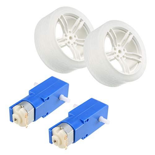 uxcell 2PCS DC Electric Motor 3-6V Dual Shaft Geared TT Magnetic Gearbox Engine w 2PCS Toy Car Wheel, Mini RC Car Robot Tyres ()