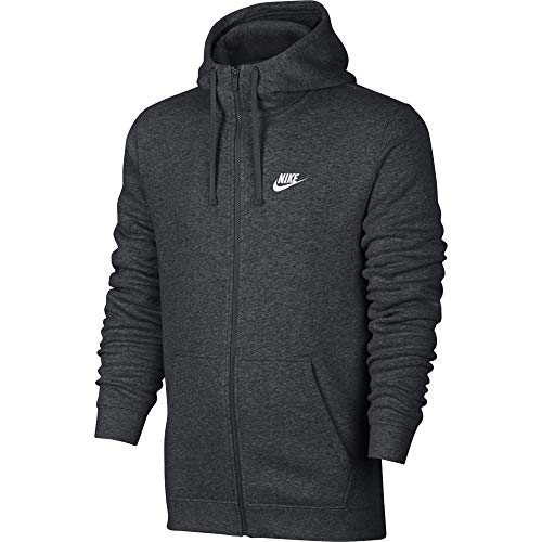 (Men's Nike Sportswear Club Full Zip-Up Hoodie, Fleece Hoodie for Men with Paneled Hood, Charcoal Heather/Charcoal Heather/White, 2XL)