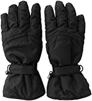 Womens Black Ski Gloves - Water Resistant & PU Palm for Grip - Sizes XS - L