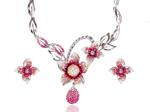 (Alilang Painted Pink White Plumeria Flower Dangle Swarovski Crystal Necklace Earring Set)
