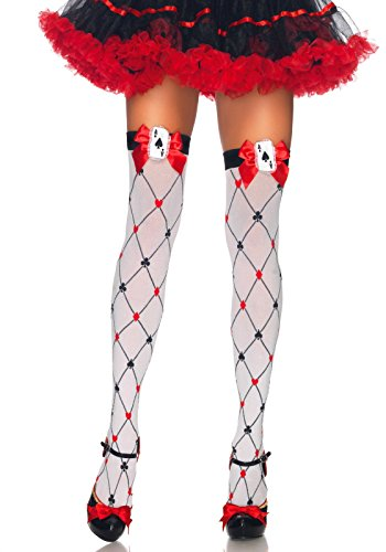 Leg Avenue Women's Woven Diamond Card Suit Thighs Highs, White/Red/Black, One Size ()